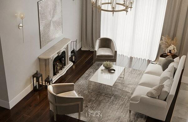 thiết kế phòng khách theo phong thủy 65m2