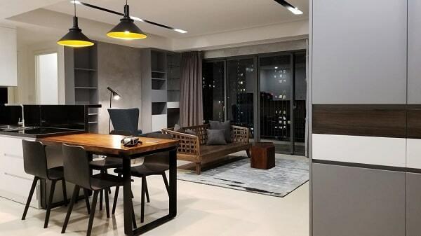 thiết kế phòng khách và nhà bếp chung cư 65m2