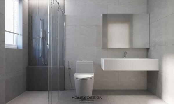 thiết kế phòng tắm căn hộ 65m2 đơn giản
