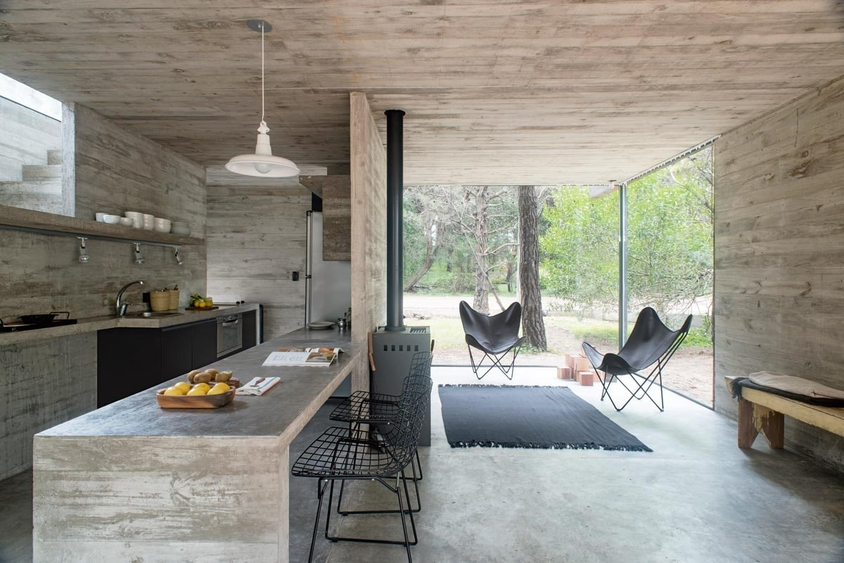 không gian nội thất thô mộc