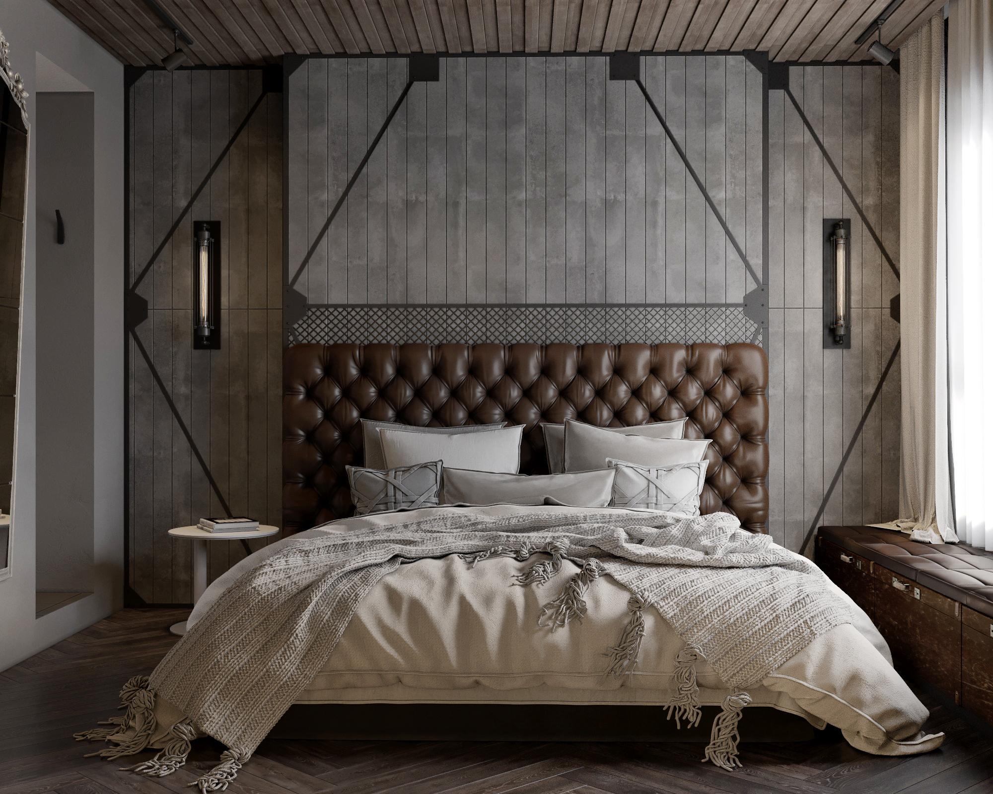 thiết kế phòng ngủ nội thất theo phong cách công nghiệp