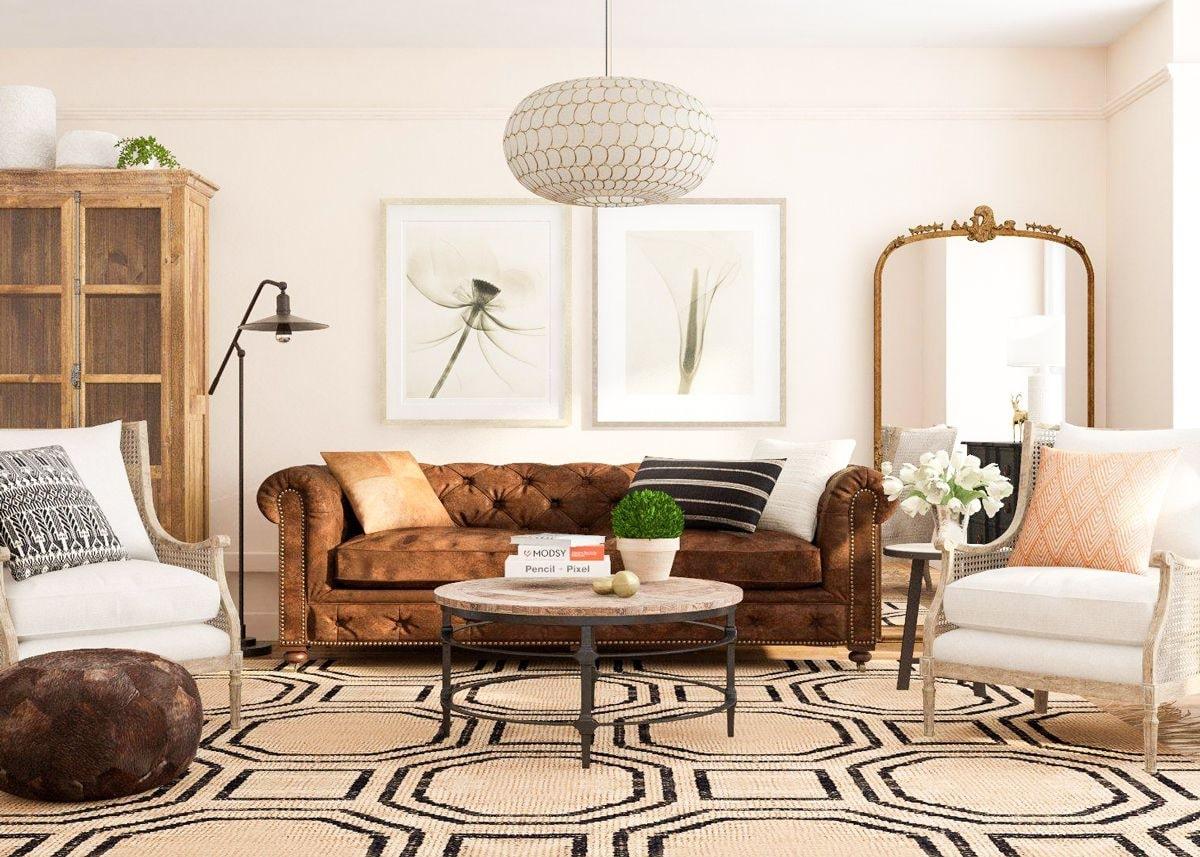 không gian phòng khách phong cách rustic