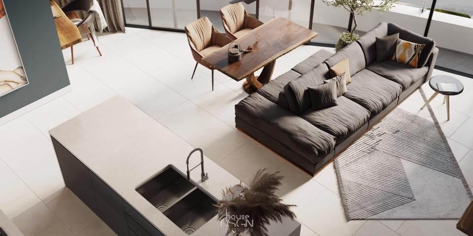 phong cách thiết kế căn hộ 65m2 2 phòng ngủ