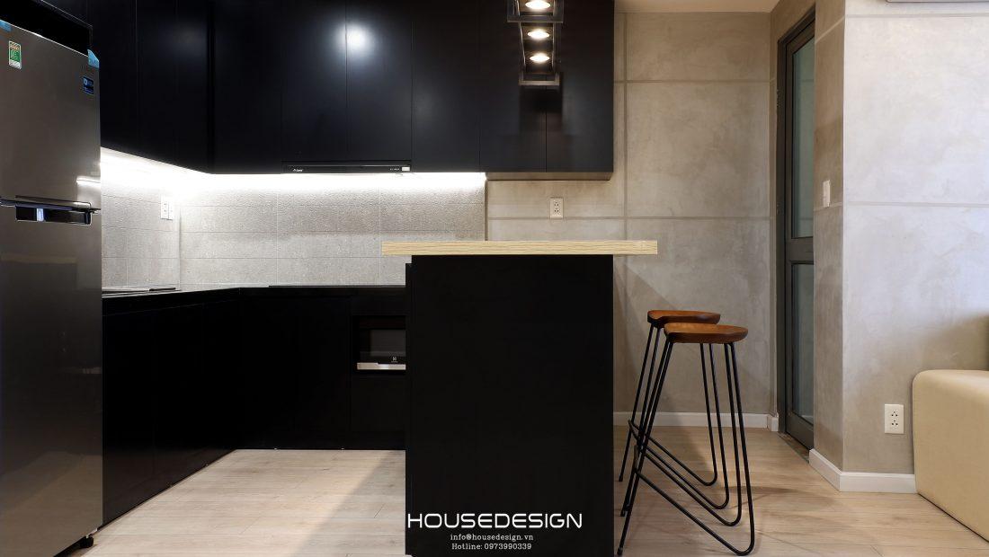 phòng bếp căn hộ chung cư 1 phòng ngủ