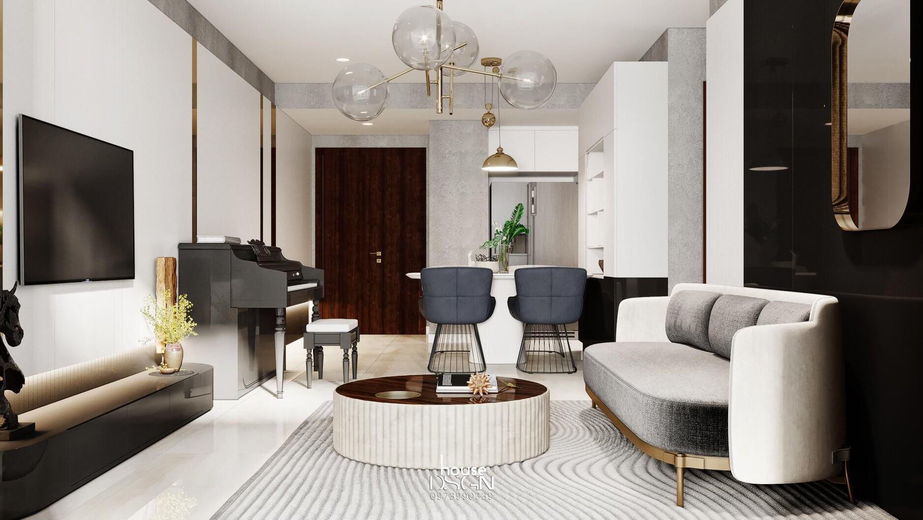 thiết kế nội thất cho phòng khách 100m2 đẹp