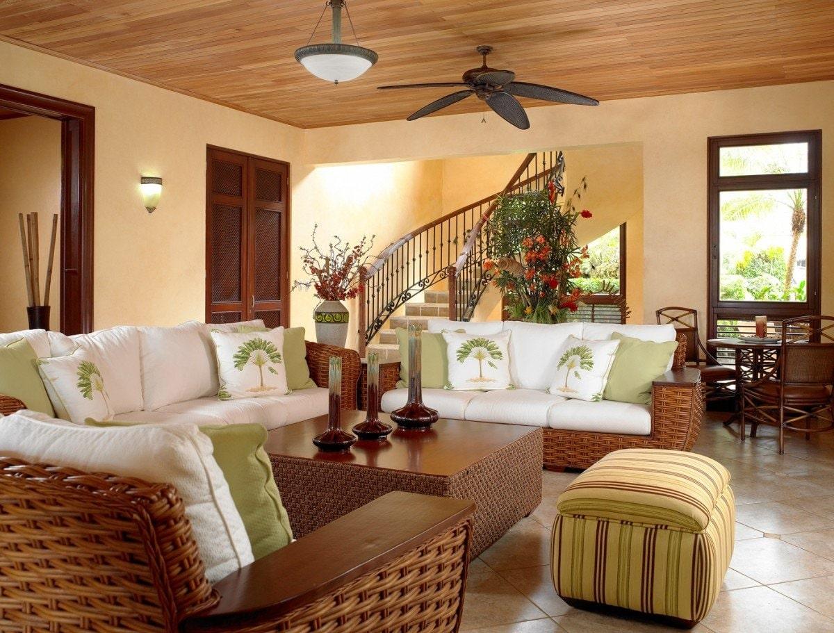 phong cách tropical trong thiết kế phòng khách