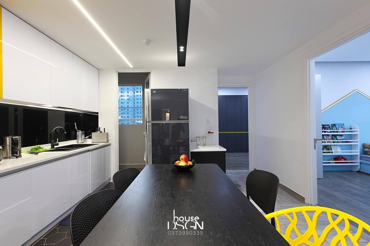 thiết kế nội thất phòng bếp cho căn hộ 100m2