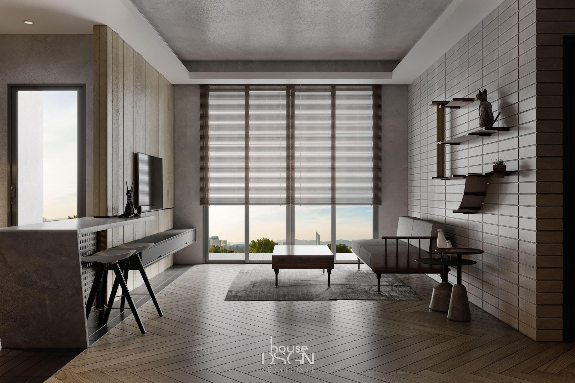 phòng khách có phong cách nội thất tối giản