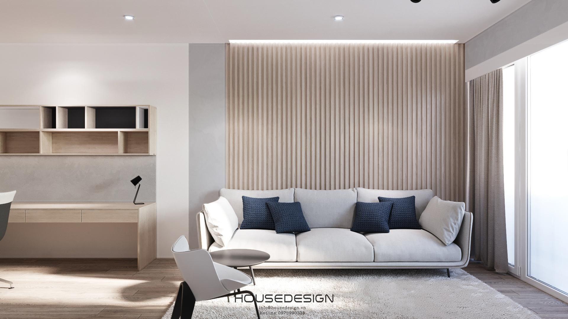 phòng khách trang trí theo phong cách nội thất tối giản
