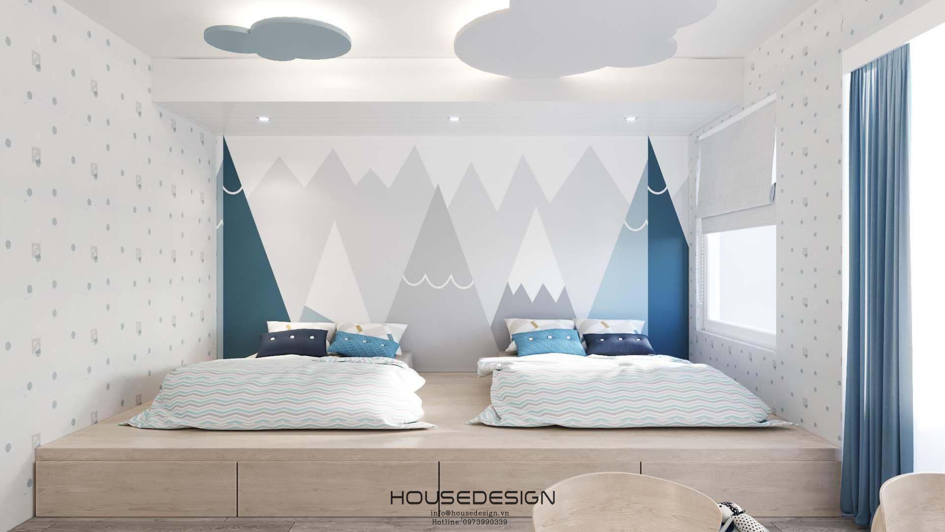 Thiết kế đơn giản của phòng ngủ đôi