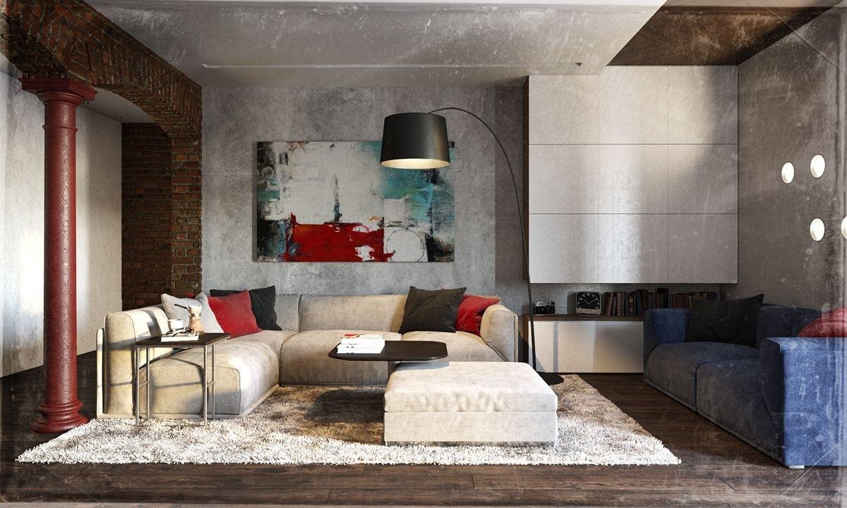 nội thất phong cách thô mộc cho phòng khách