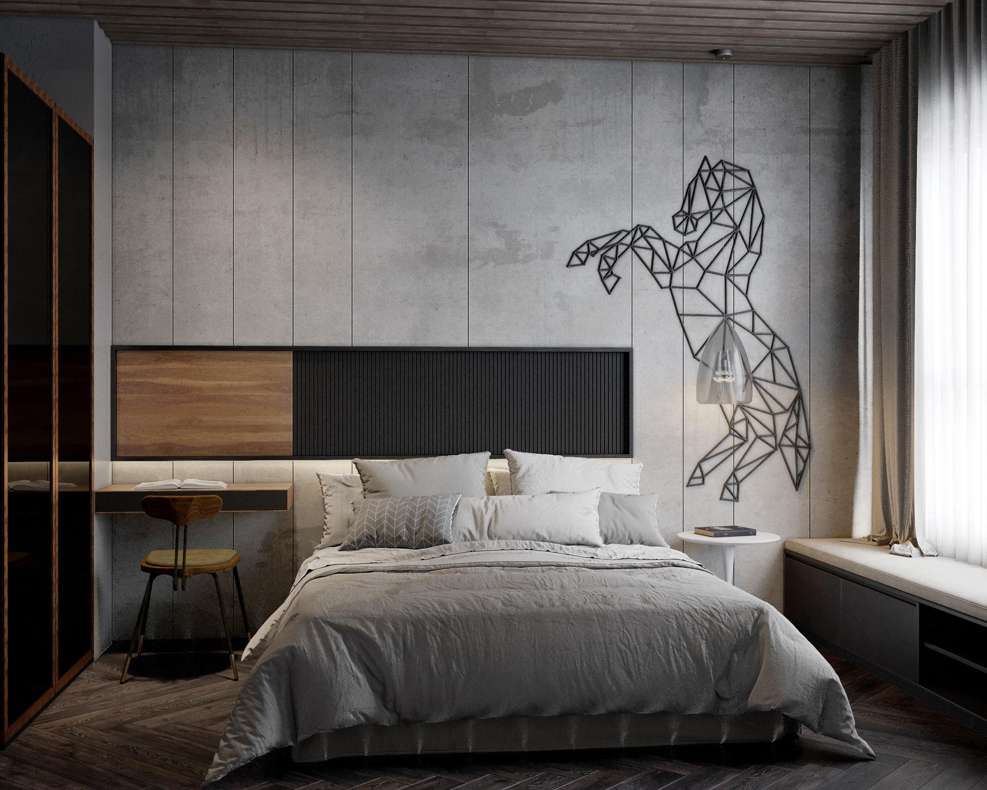 phòng ngủ được thiết kế nội thất theo phong cách công nghiệp