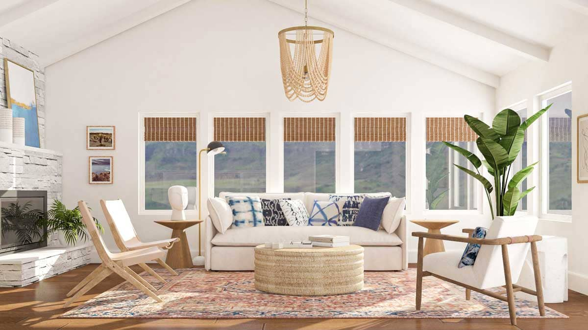 mẫu thiết kế phòng khách theo phong cách ven biển