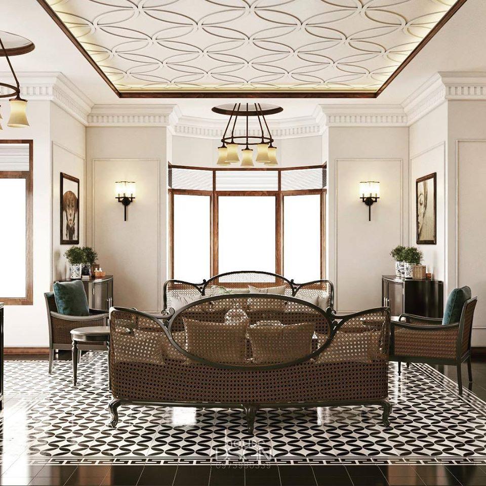 thiết kế nôị thất mix and match cho phòng khách