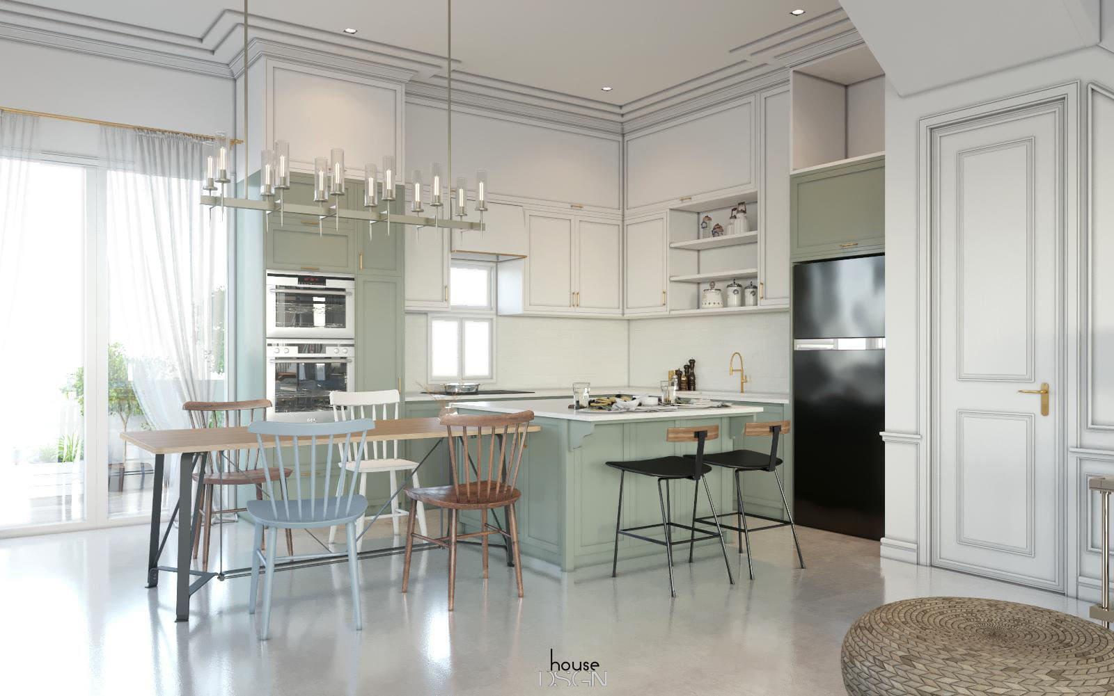 phòng bếp phong cách bắc âu