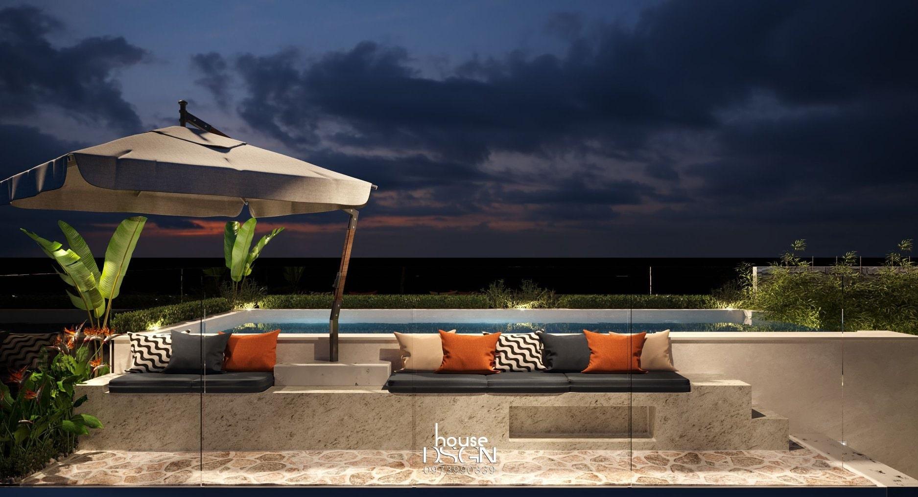 các mẫu thiết kế nội thất biệt thự cho hồ bơi