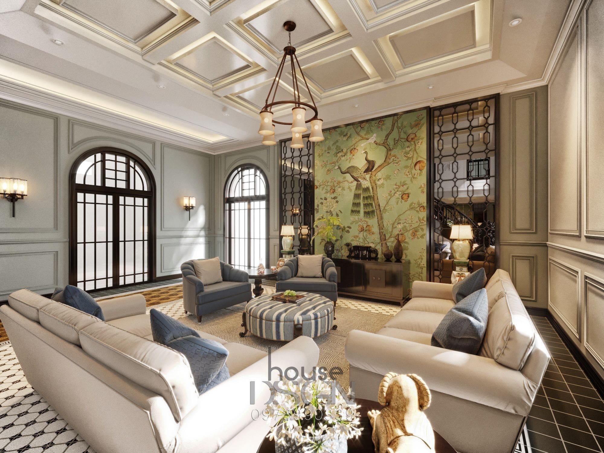 mẫu thiết kế nội thất biệt thự phòng khách