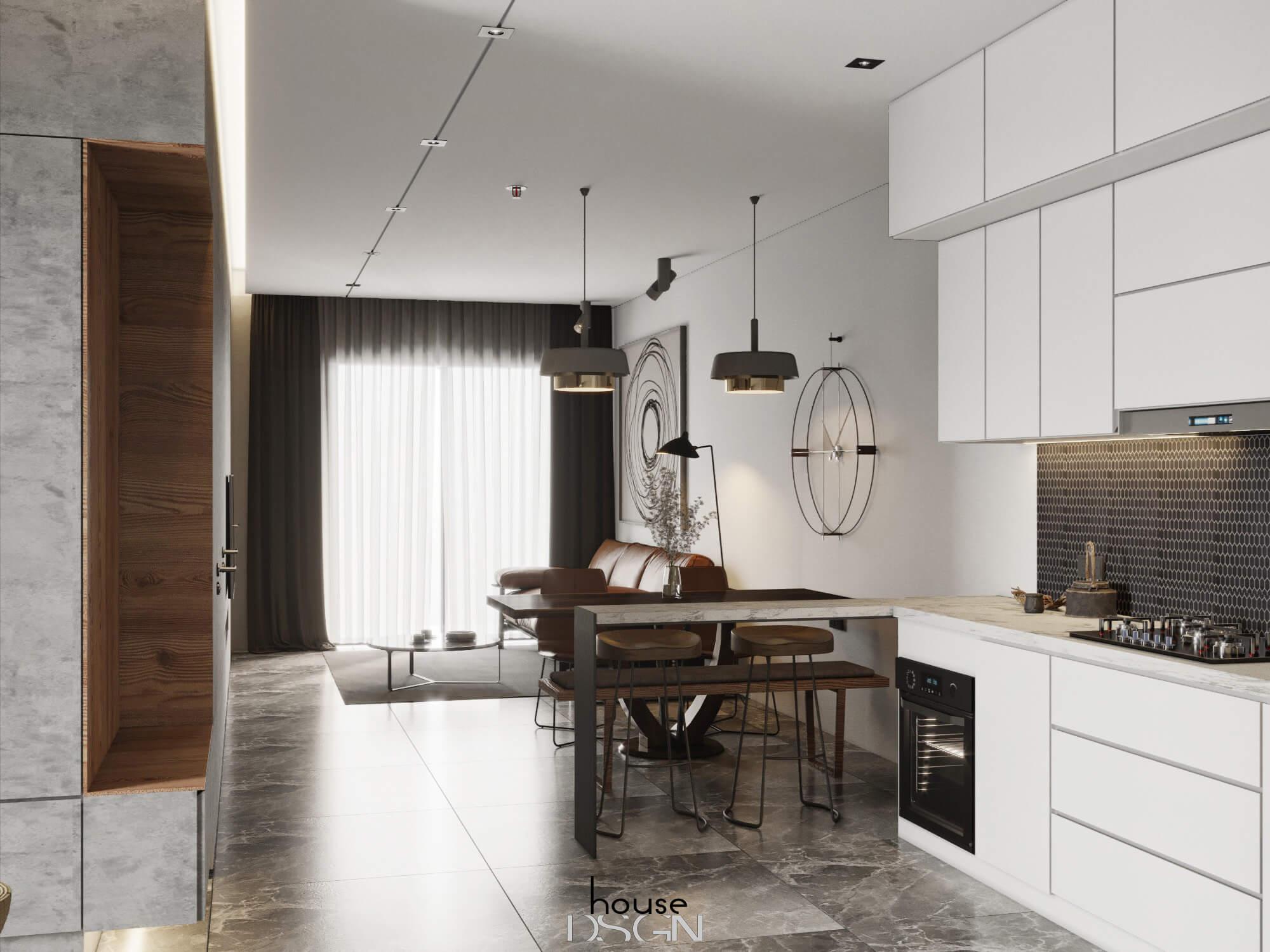 mẫu thiết kế nội thất căn hộ 52m2 ấn tượng