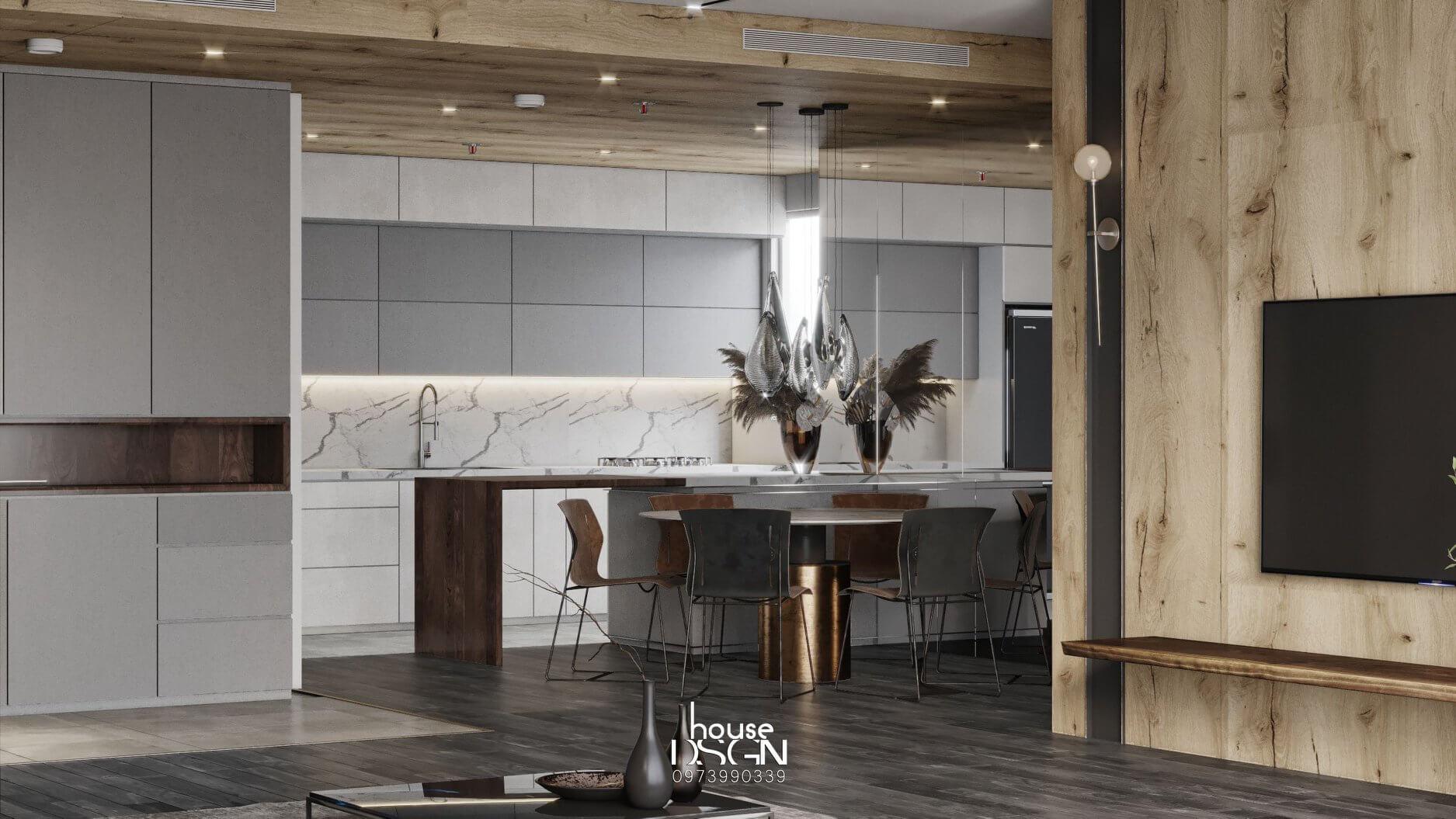 thiết kế nội thất căn hộ chung cư 100m2 sang trọng