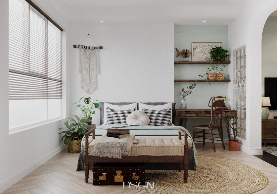 bố trí bàn nhỏ để phòng ngủ tiện nghi