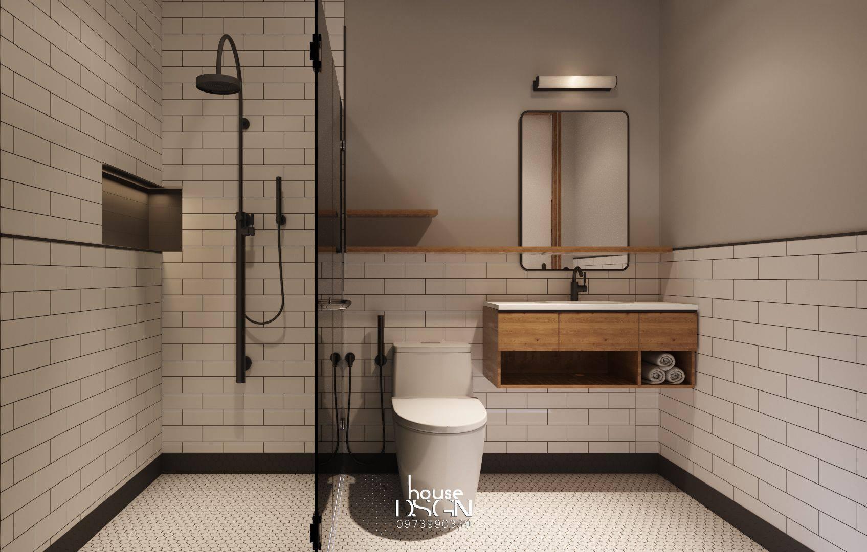 bố trí nội thất cho phòng tắm căn hộ 45m2