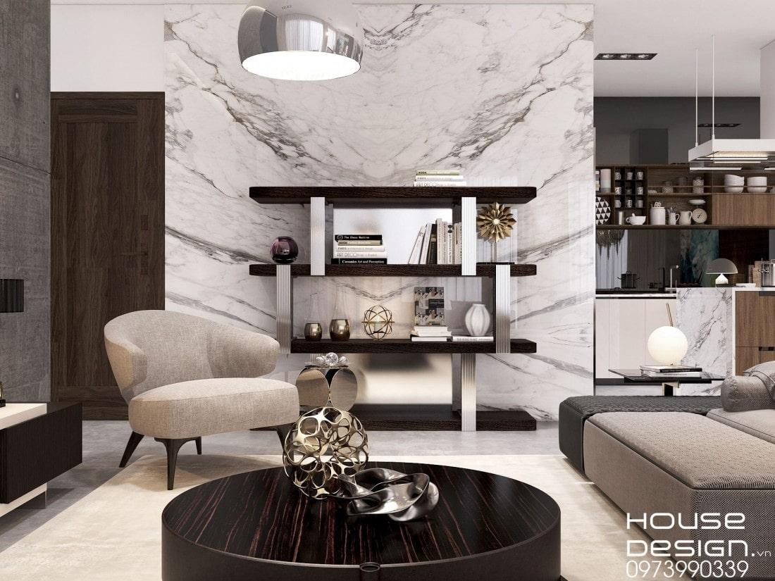 Interior design of tube house living room sample