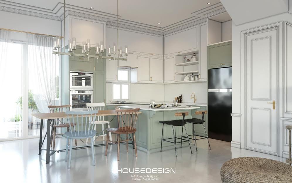 mẫu không gian liên thông phòng khách bếp