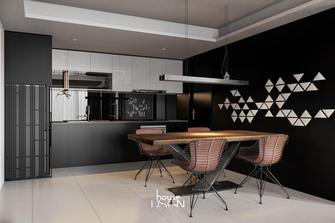 thiết kế không gian mở bếp và phòng khách