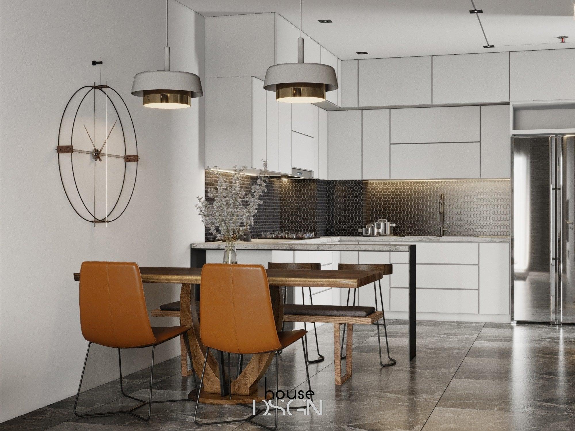 mẫu không gian mở cho bếp và phòng khách