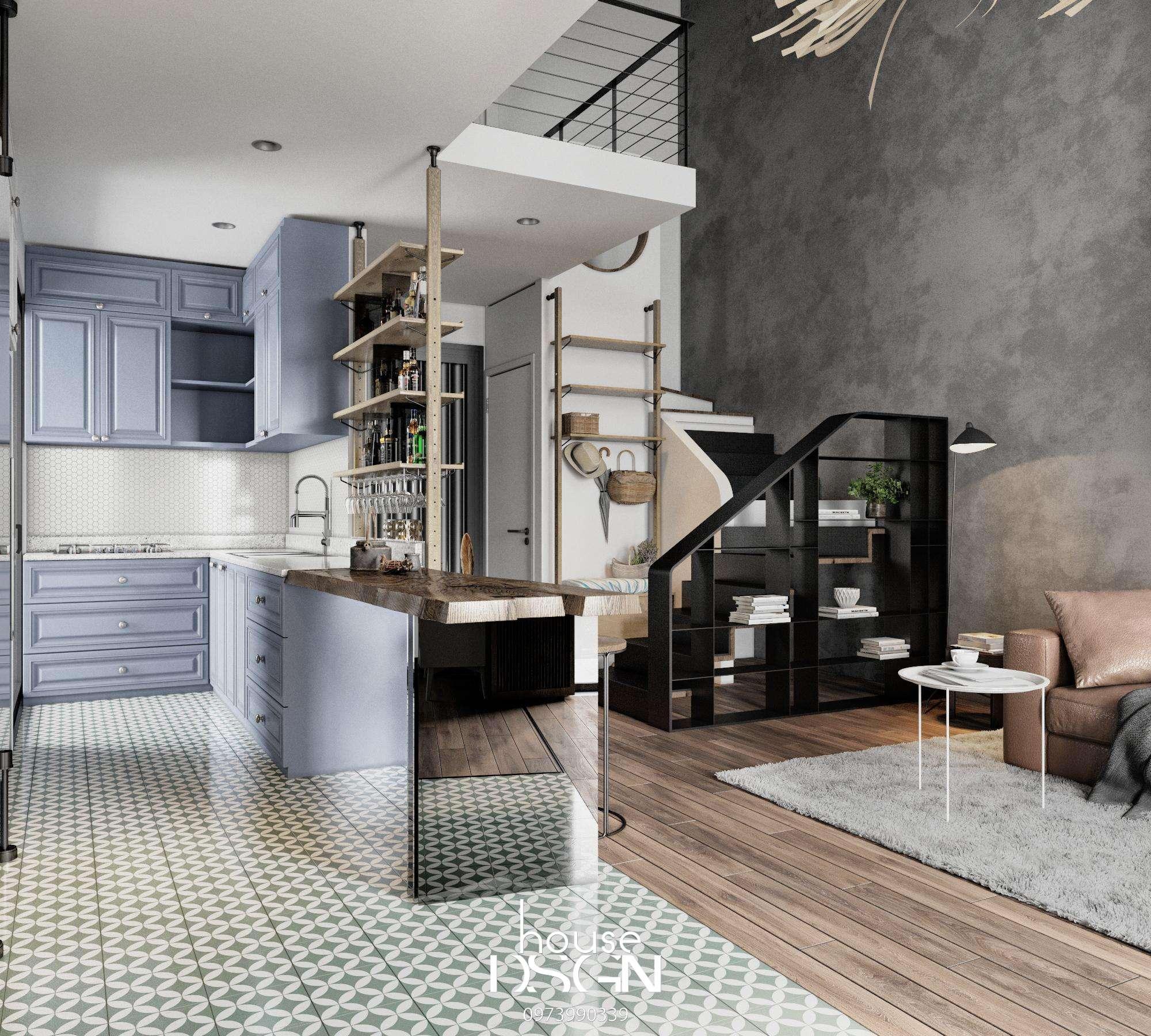 thiết kế không gian mở cho phòng khách và bếp