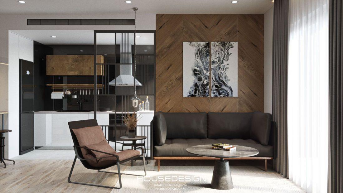 thiết kế không gian mở phòng khách và bếp