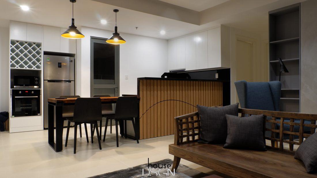 thiết kế không gian phòng khách và bếp