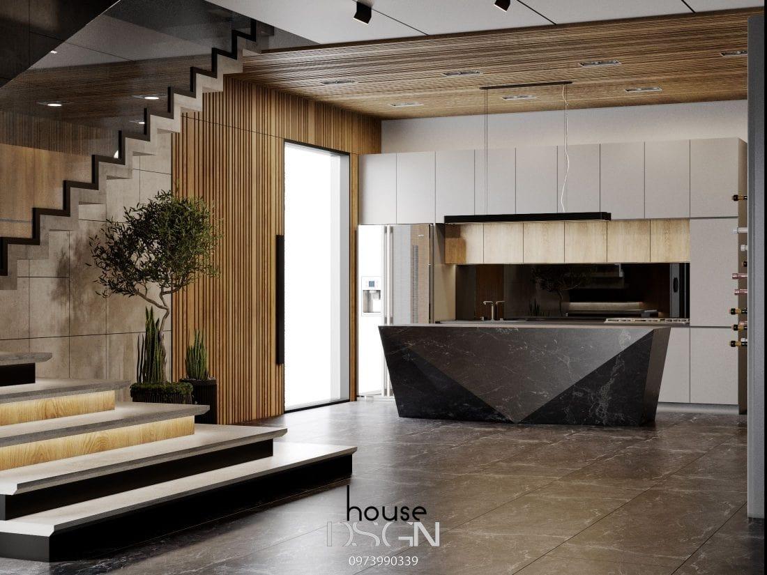 mẫu không gian mở cho phòng khách và bếp đẹp