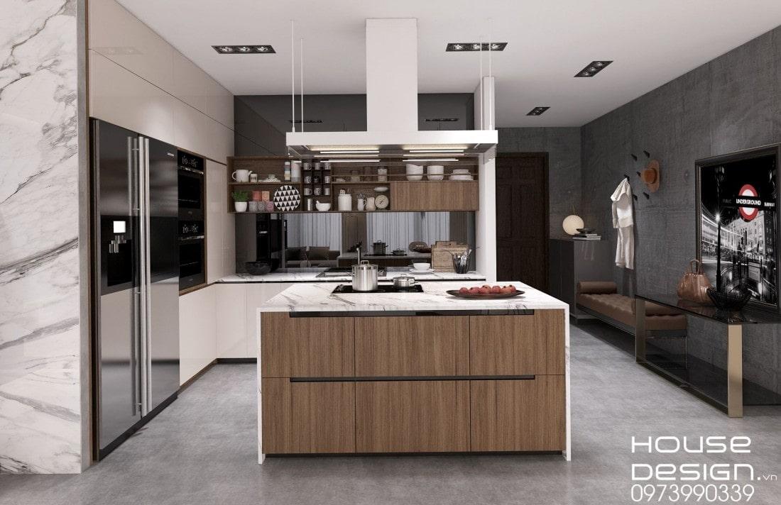 mẫu không gian phòng khách và bếp hiện đại