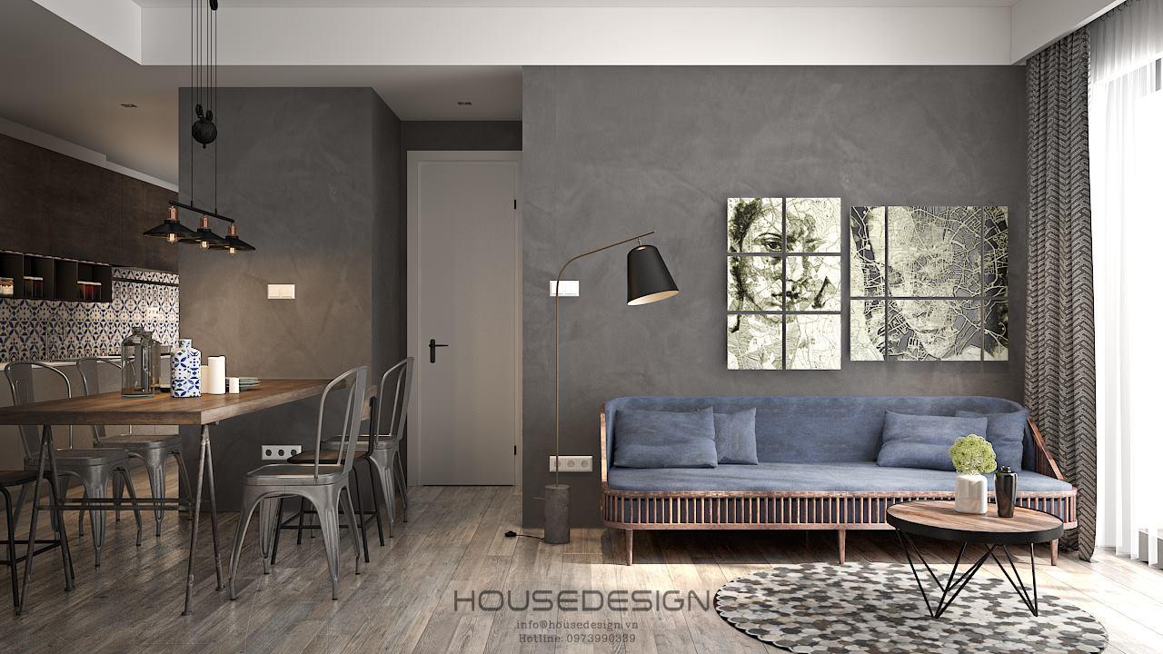 mẫu thiết kế nội thất căn hộ chung cư 45m2 ấn tượng