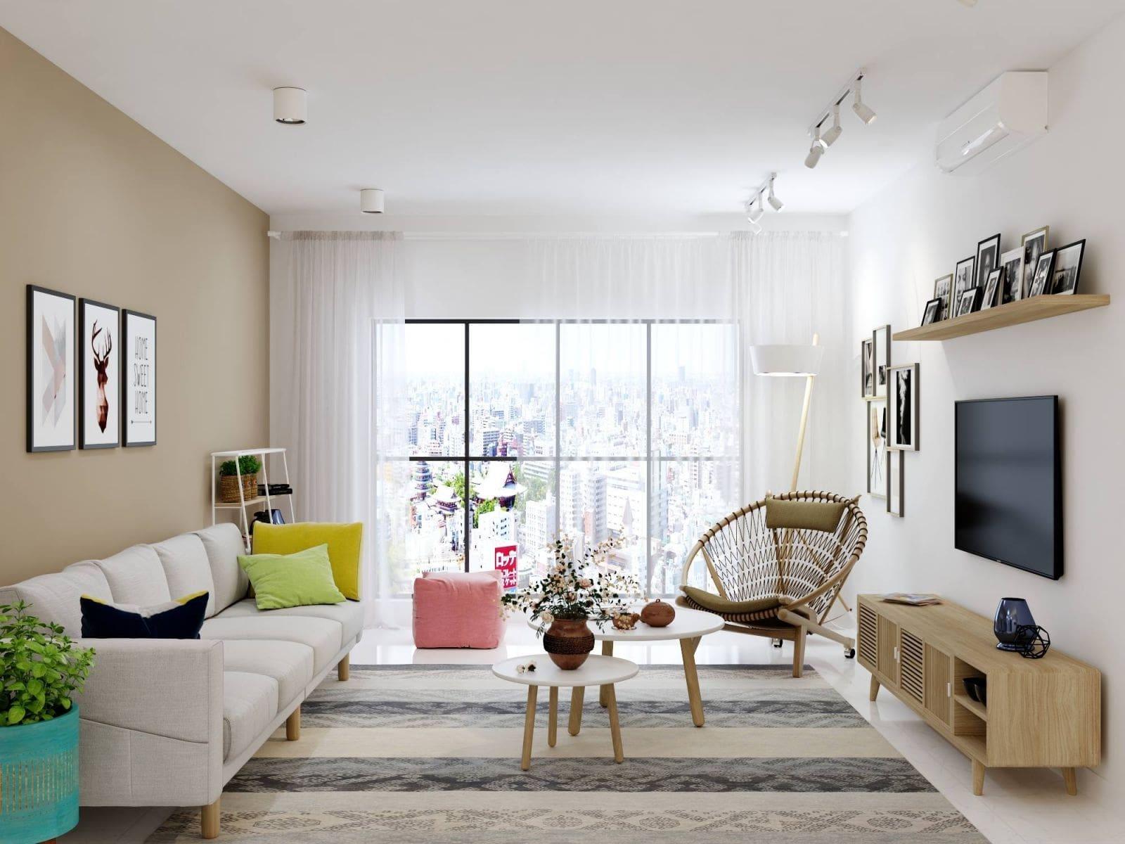 mẫu thiết kế phòng khách nhà ống đẹp