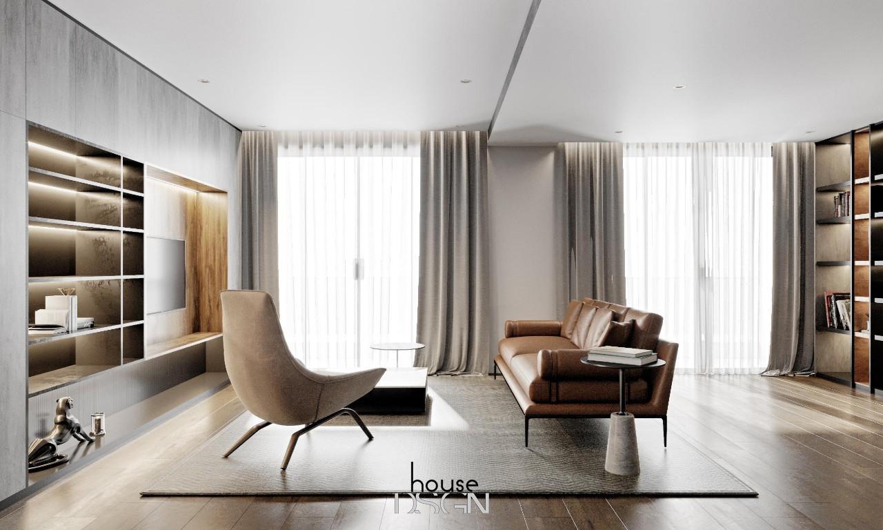 thiết kế vách ngăn gỗ phòng khách và bếp đẹp