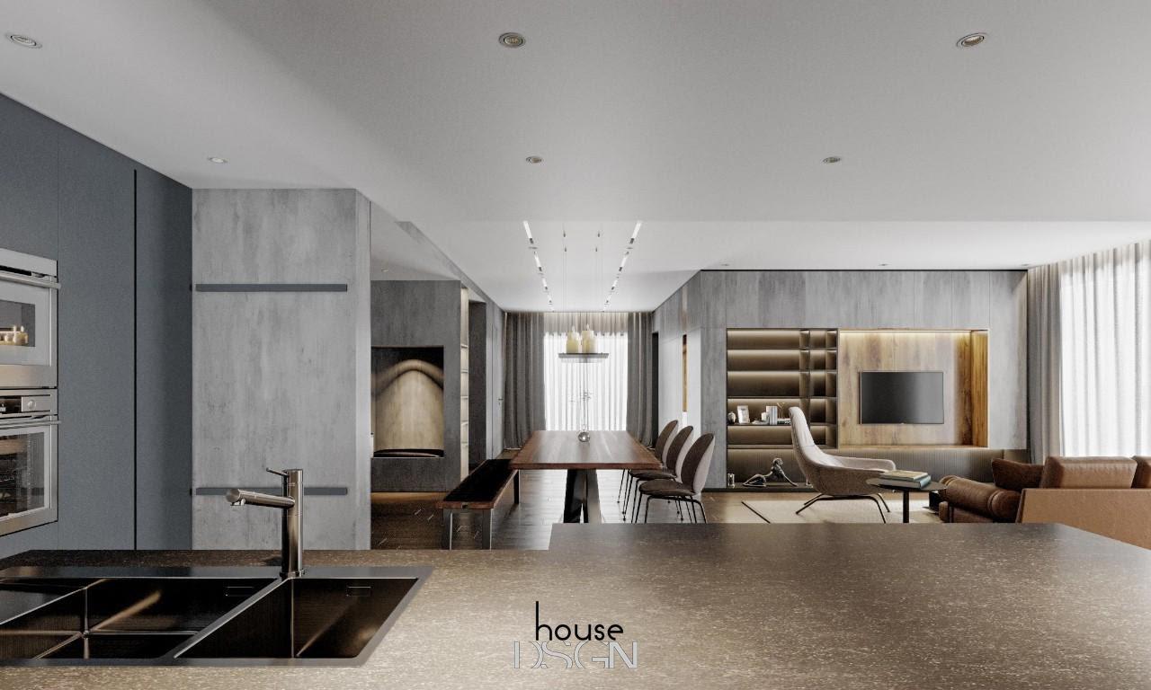 thiết kế phòng khách và bếp liên thông - Housedesign