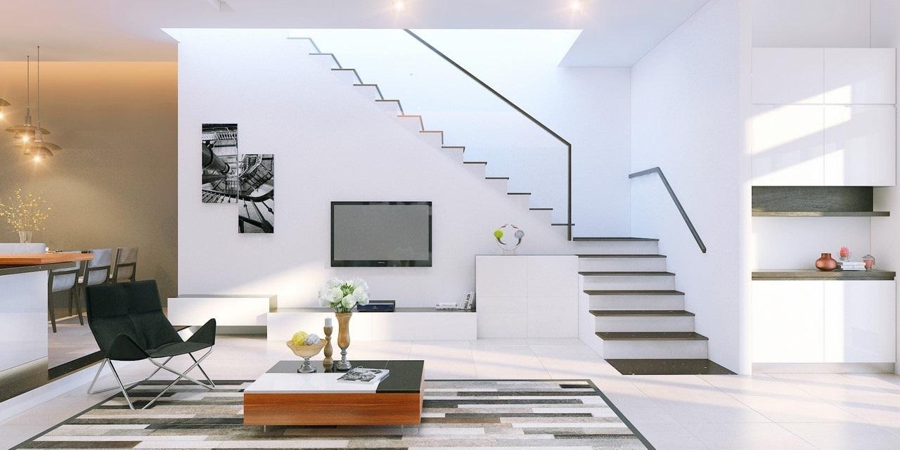 bố trí phòng khách có cầu thang - Housedesign