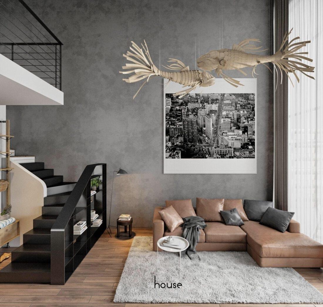 cách trang trí phòng khách có cầu thang - Housedesign