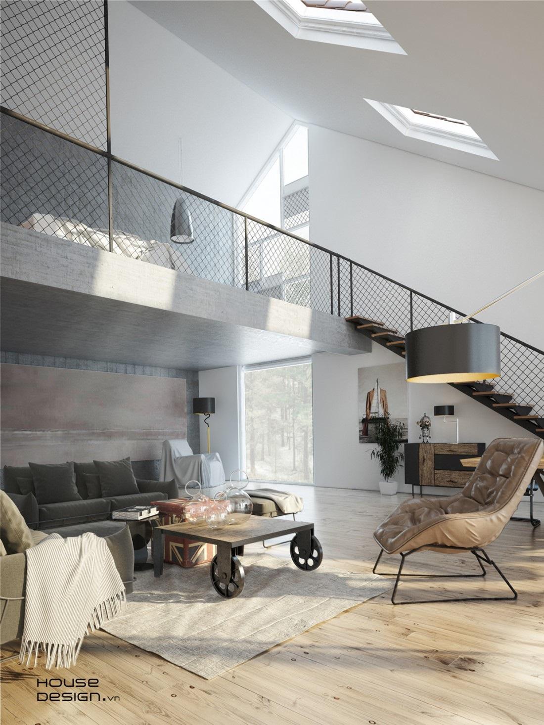 cầu thang phòng khách nhà ống - Housedesign