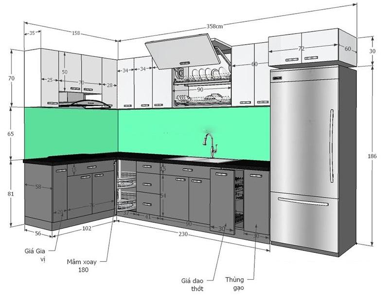 kích thước tủ bếp trên - Housedesign