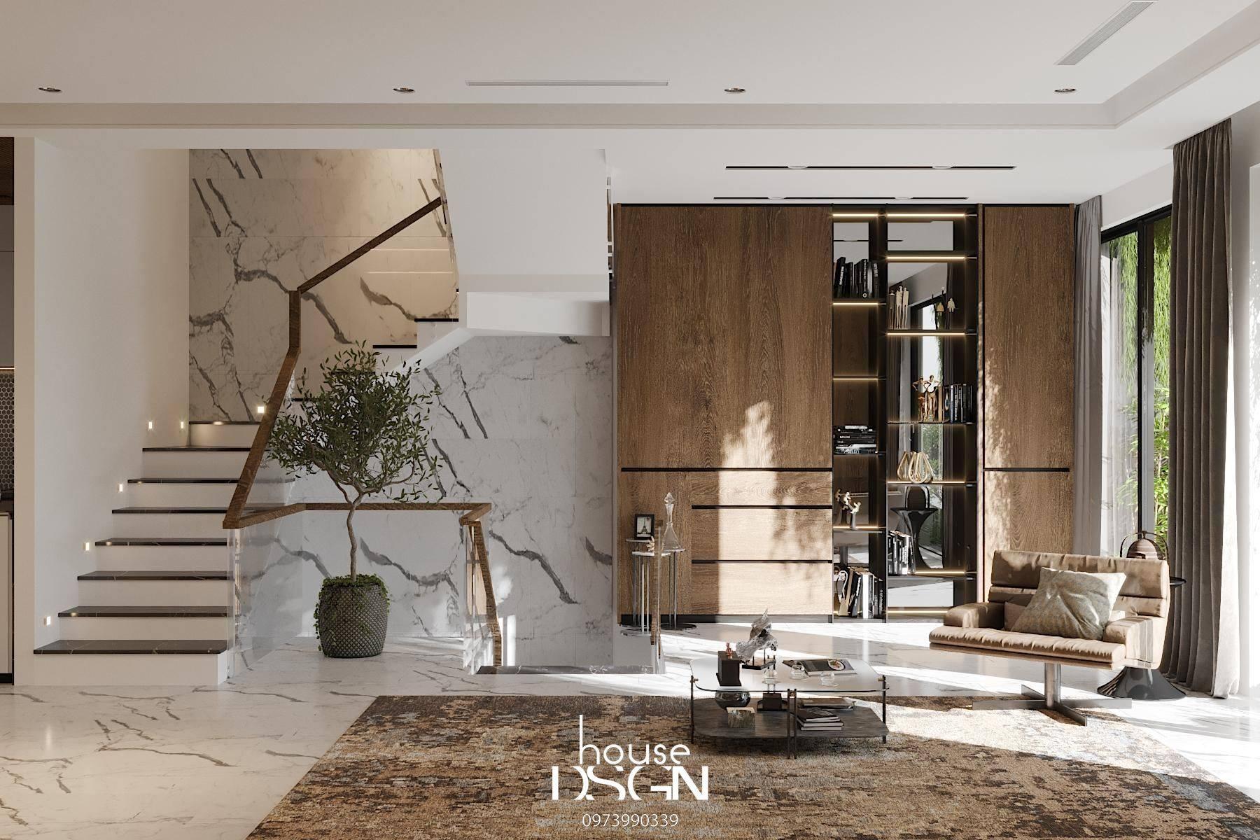 mẫu phòng khách đẹp có cầu thang - Housedesign