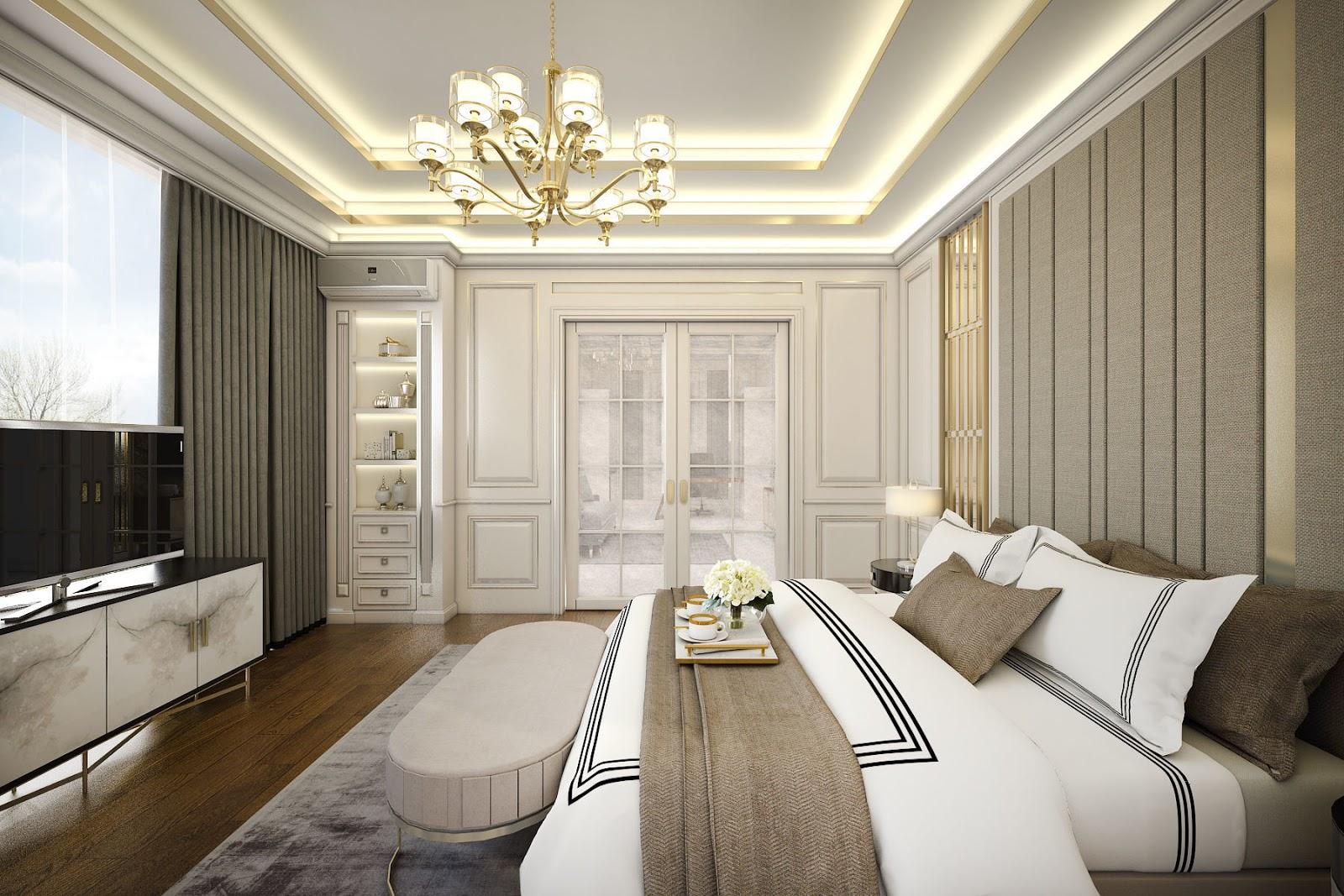Nội thất phòng ngủ khách sạn cổ điển