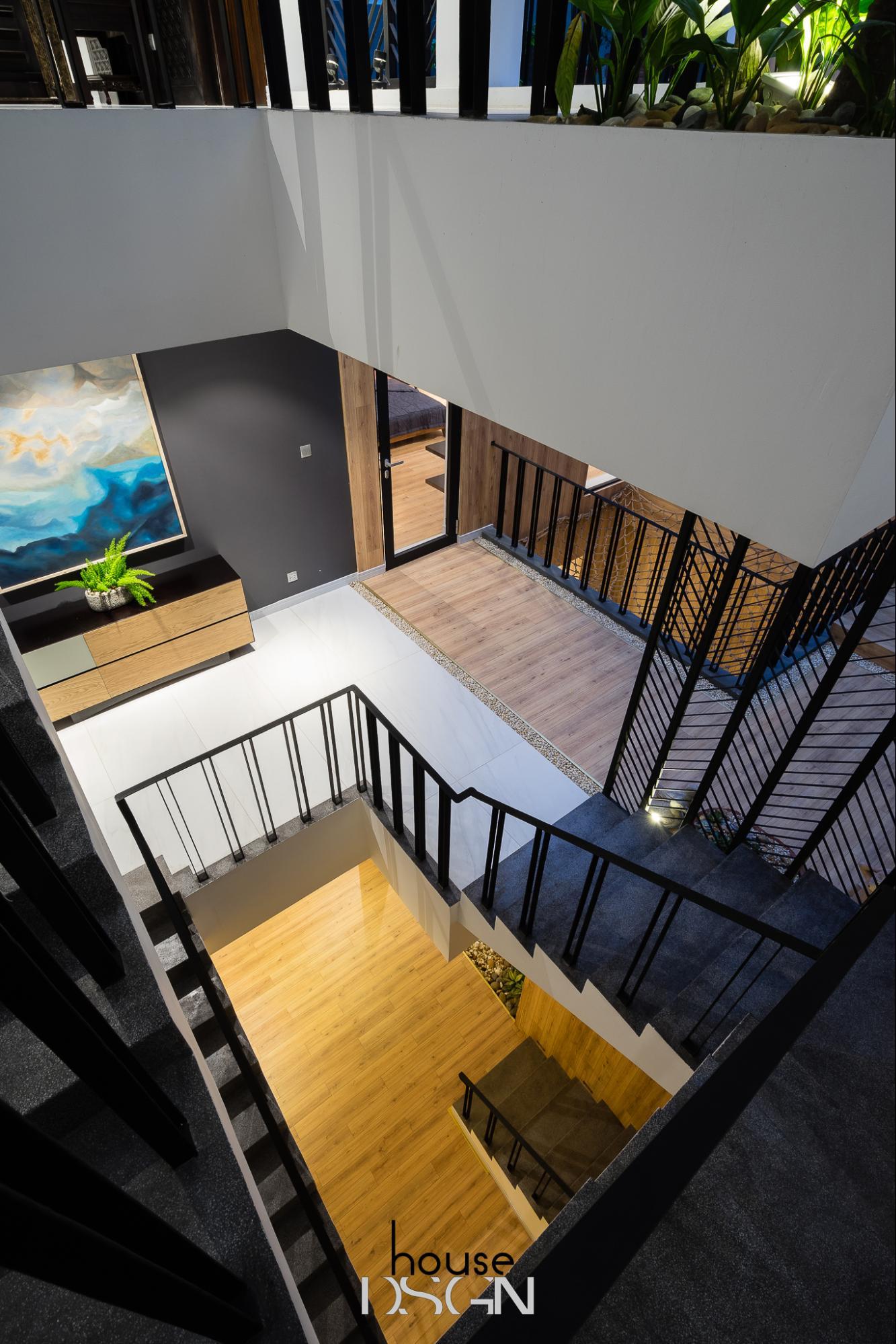 phòng khách nhà ống có cầu thang - Housedesign