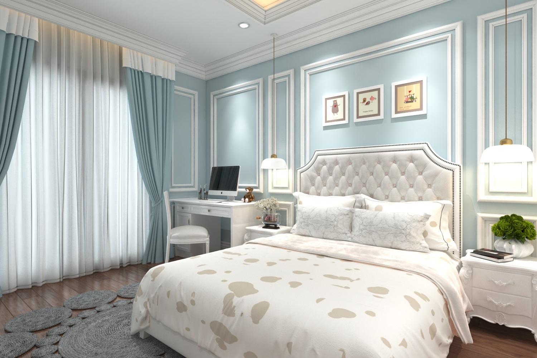 Phòng ngủ khách sạn tân cổ điển màu xanh