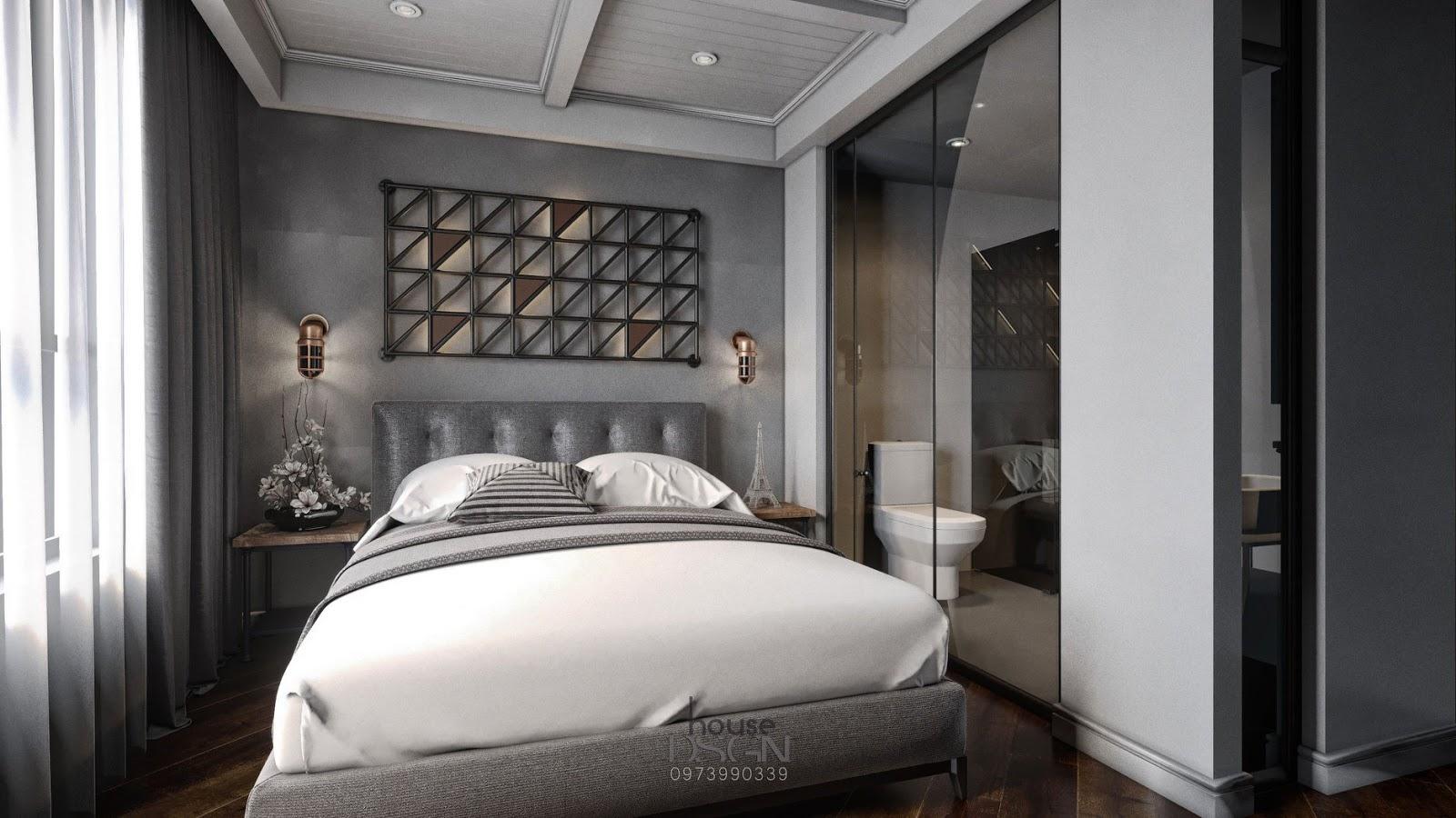 Phòng ngủ khách sạn màu sáng