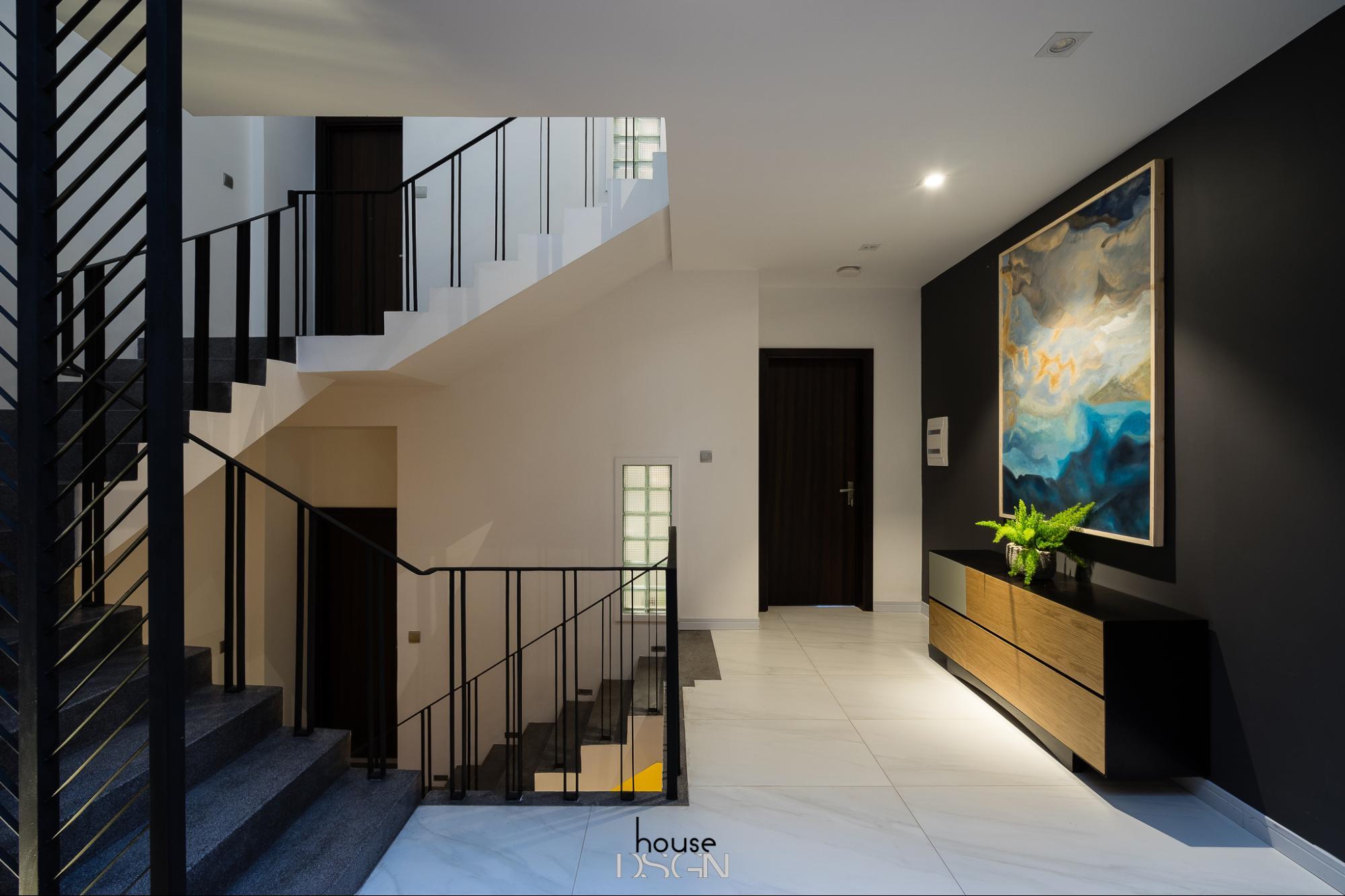 thiết kế nội thất phòng khách có cầu thang - Housedesign