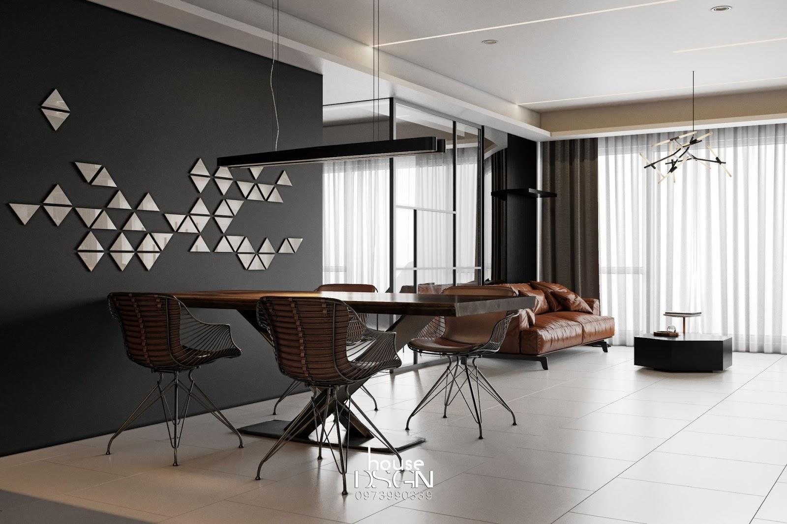thiết kế nội thất phòng khách liền bếp - Housedesign