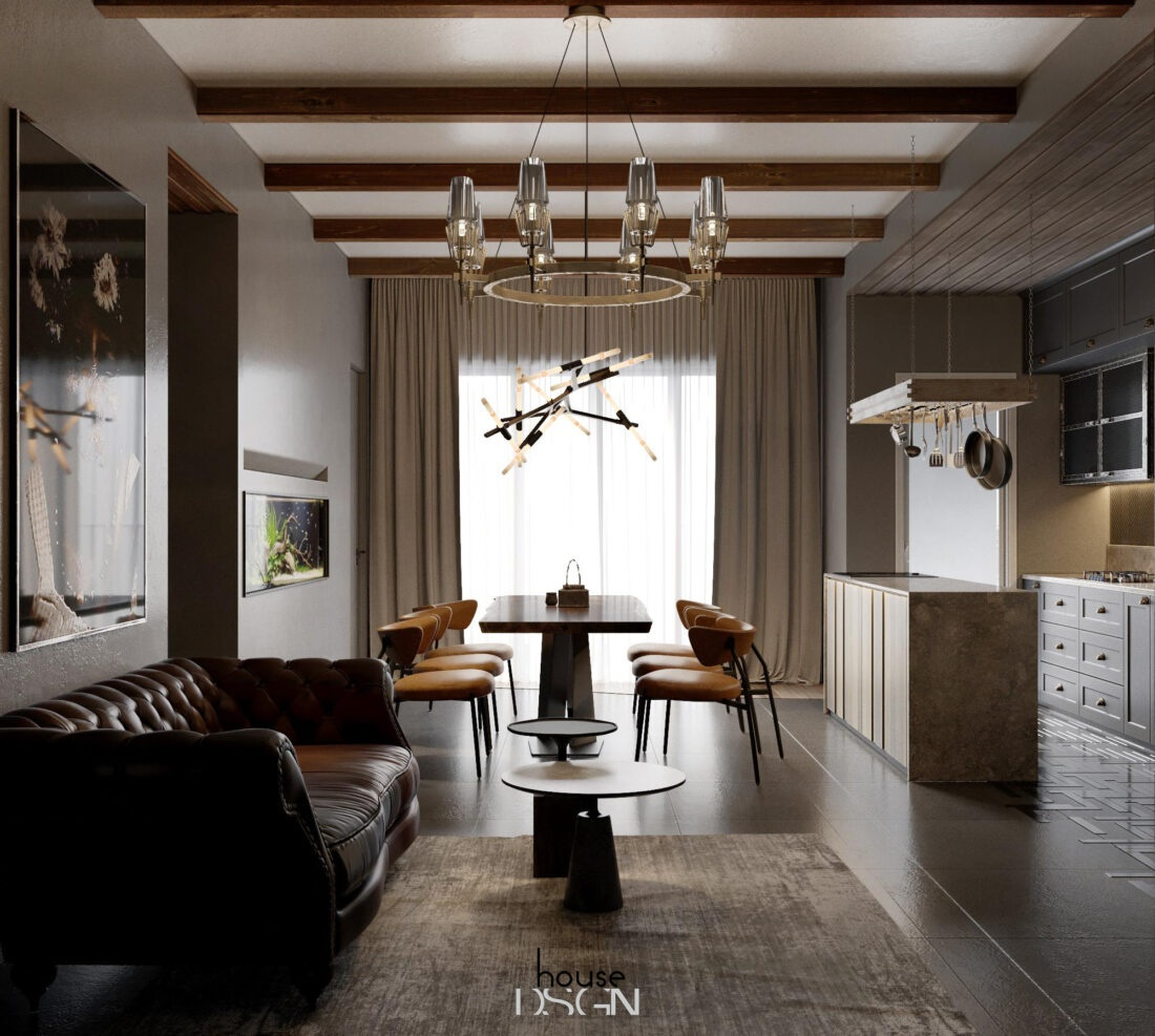 thiết kế phòng khách liên thông nhà bếp - Housedesign